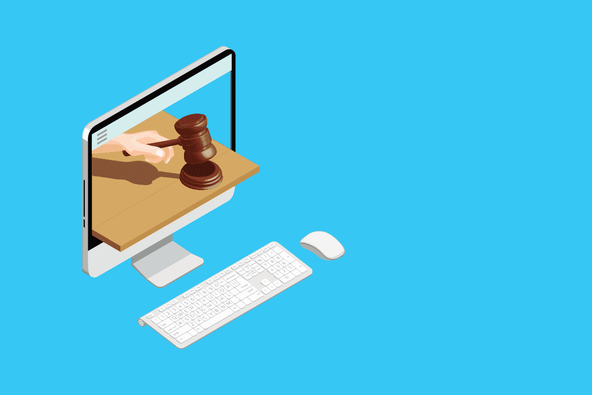 Graphic: A gavel and a block coming out of a computer screen. Represents an online property auction