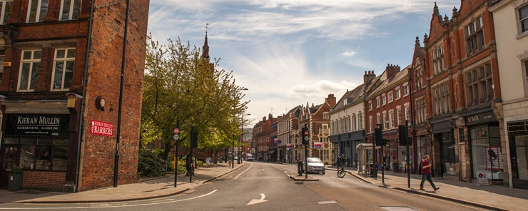 A mostly deserted sshopping street in Derby, UK