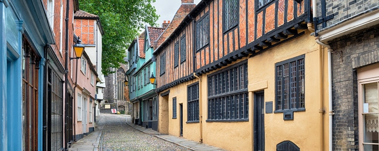 Colourful Tudor half-timbered houses in Norwich