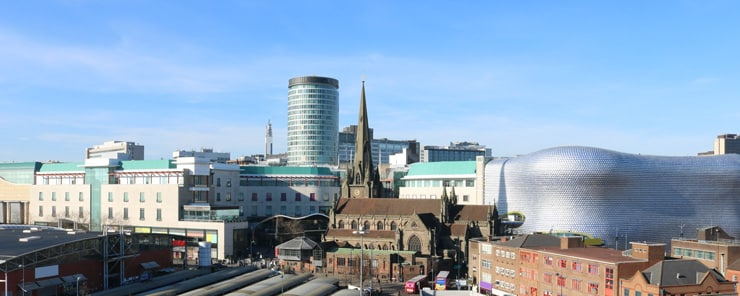 View of the city scape of Birmingham with the Bull Ring clearly in sight.