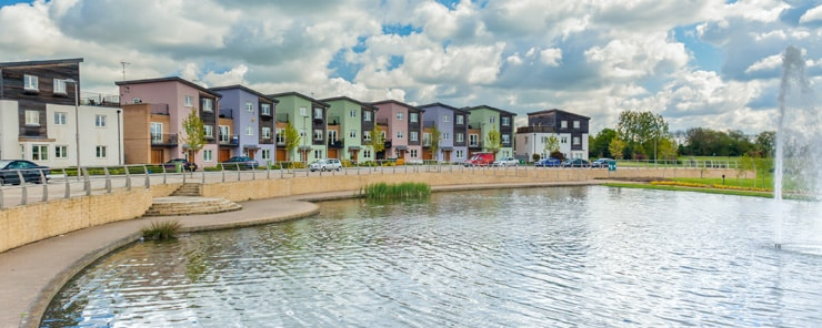 Urban, colourful housing on the river front in Milton Keynes