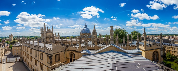 Center of Oxford, UK. Panoramic photographs of rooftops on a summer day