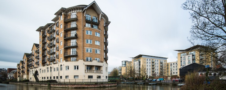 Blocks of flats on the water in Reading, UK