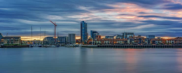 Sunset on the UK's south coast at Southampton with the city of Southampton in the background