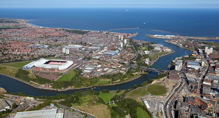 An aerial view of the city of Sunderland and the coastline