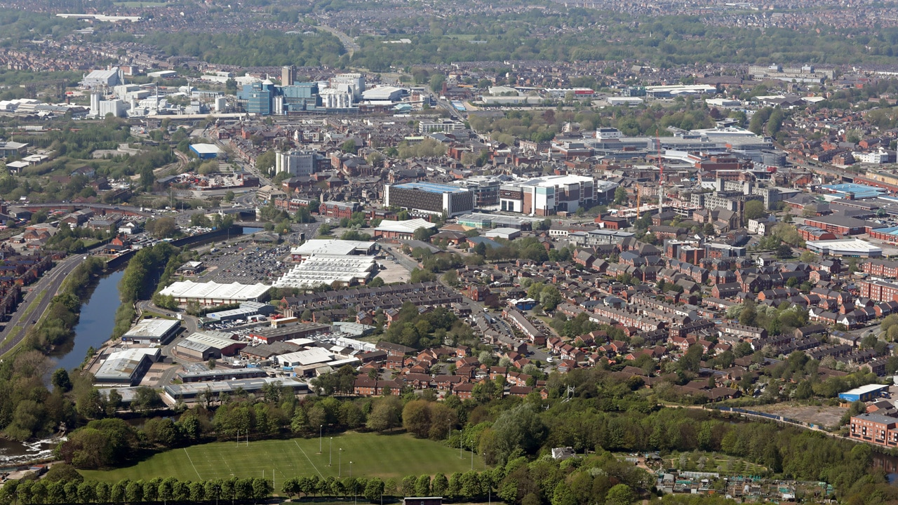 An aerial shot of Warrington, UK