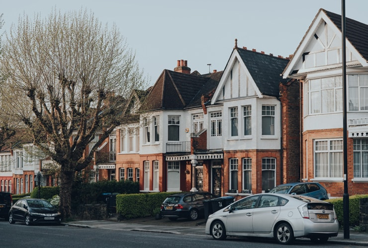 Image shows a typical street of Edwardian houses in Enfield, North London