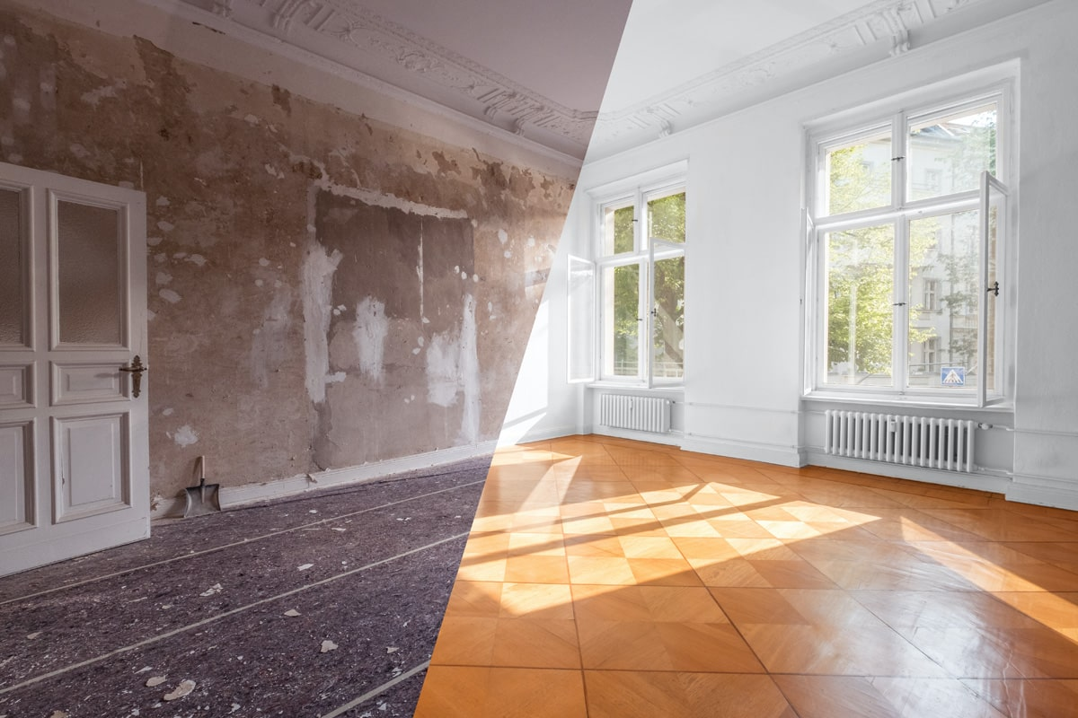 Image of a room with one half having been refurbished and the other, in need of repair