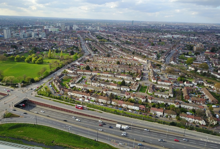 Aerial East London View of Barking Captured with 4K DJI Mavic Drone