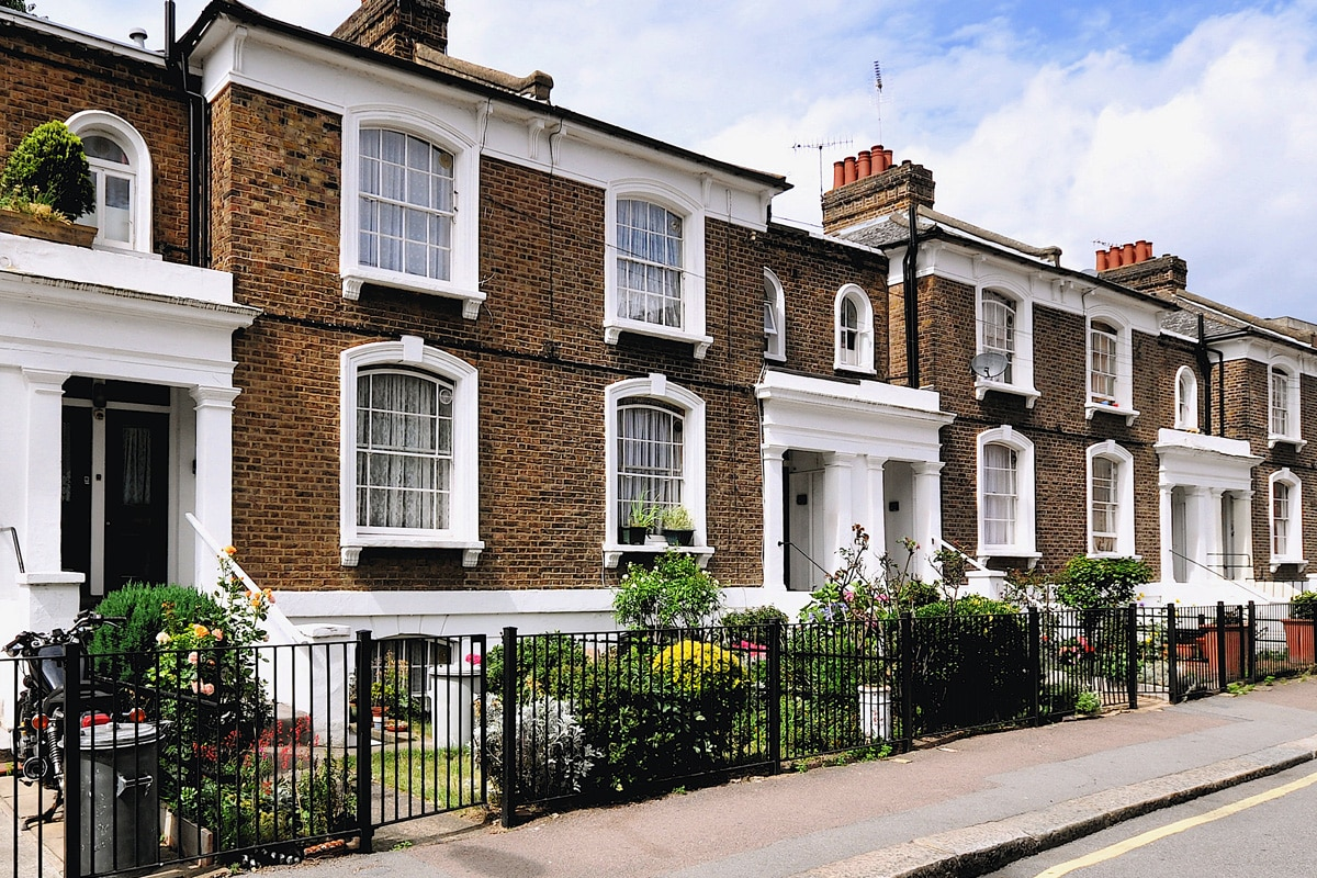A typical terrace of small 19th century Victorian period town houses at Angel Walk, Hammersmith, west London, UK.