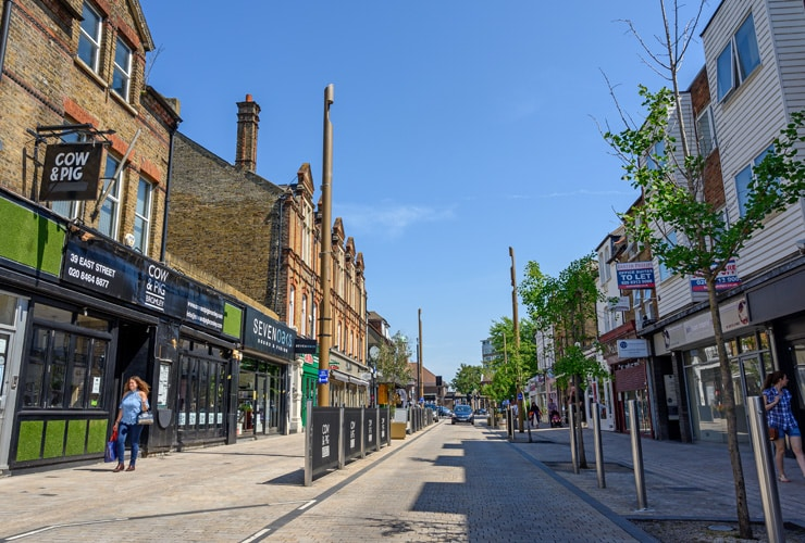 A shopping street in Bromley.