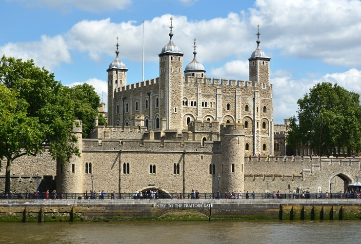 The Tower of London showing the Entry to the Traitors Gate.