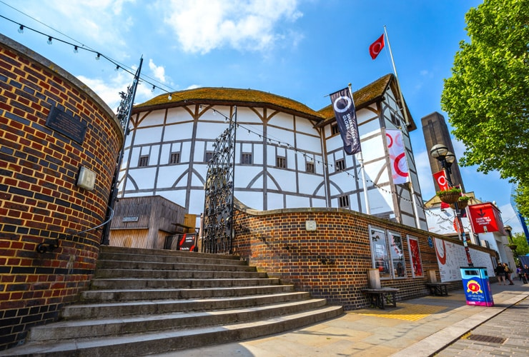 The outside of the Globe Theatre in Southwark