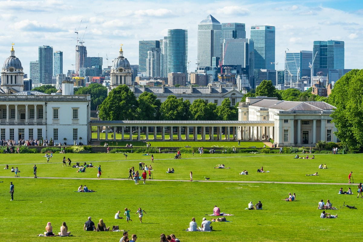 Greenwich park on a sunny, spring day.