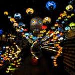 Artistically arranged lanterns at Camden Market.