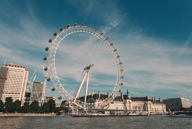 Photograph of the London Eye, taken against the Thames river