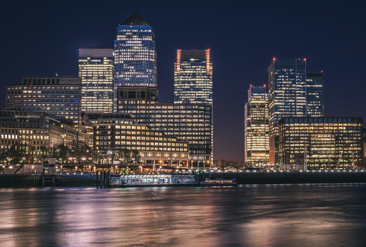 Night time panoramic photograph of Canary Wharf. Canary Wharf is a major business district located in Tower Hamlets, East London.