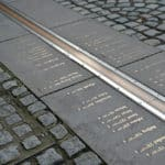 A photograph of the Prime Meridian Line in Greenwich, London.