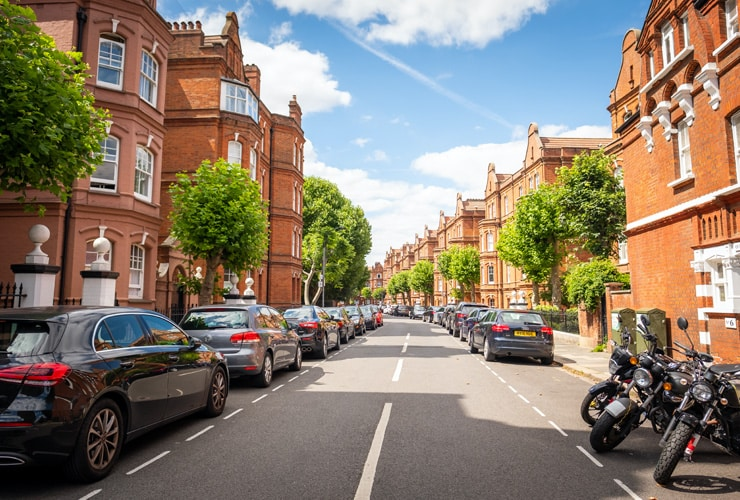 An upmarket, attractive residential street of terraced houses in Fulham , south west London.