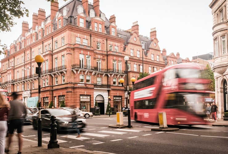 Motion blurred view of Sloane Square, an upmarket area of Chelsea and Knightsbridge.