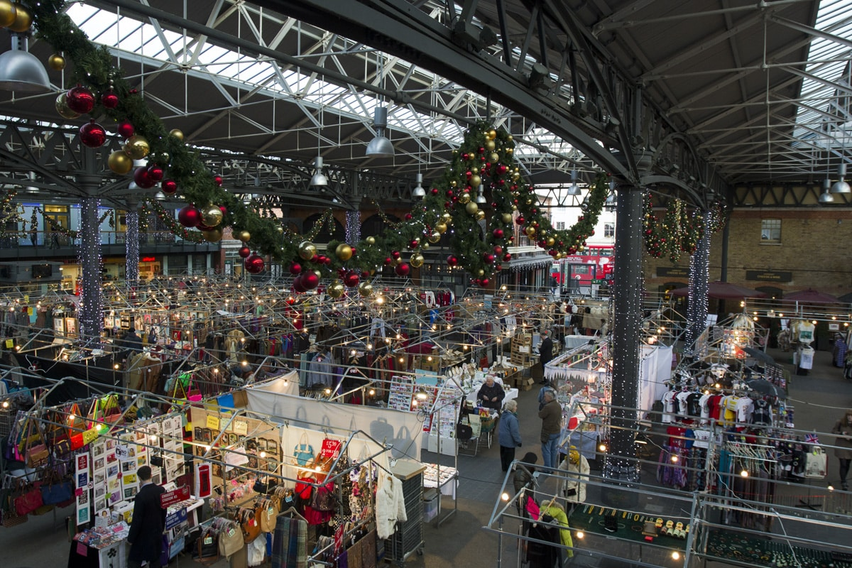 A general view of the Old Spitalfields Market with Christmas decorations up.