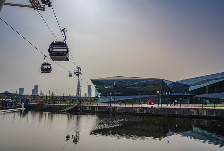 The London Cable Car known as 'The Emirates Air Line', is a cable-car which crosses the River Thames in East London, between The Royal Docks near Canning Town and Greenwich.