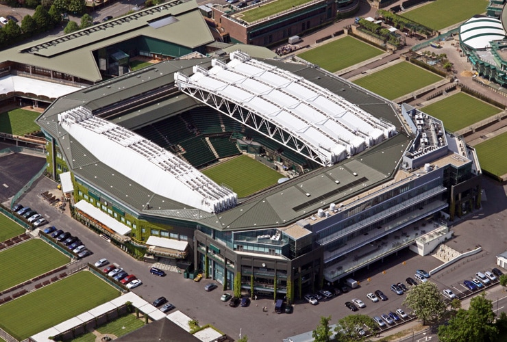 An areal view of Wimbledon and the Centre Court.