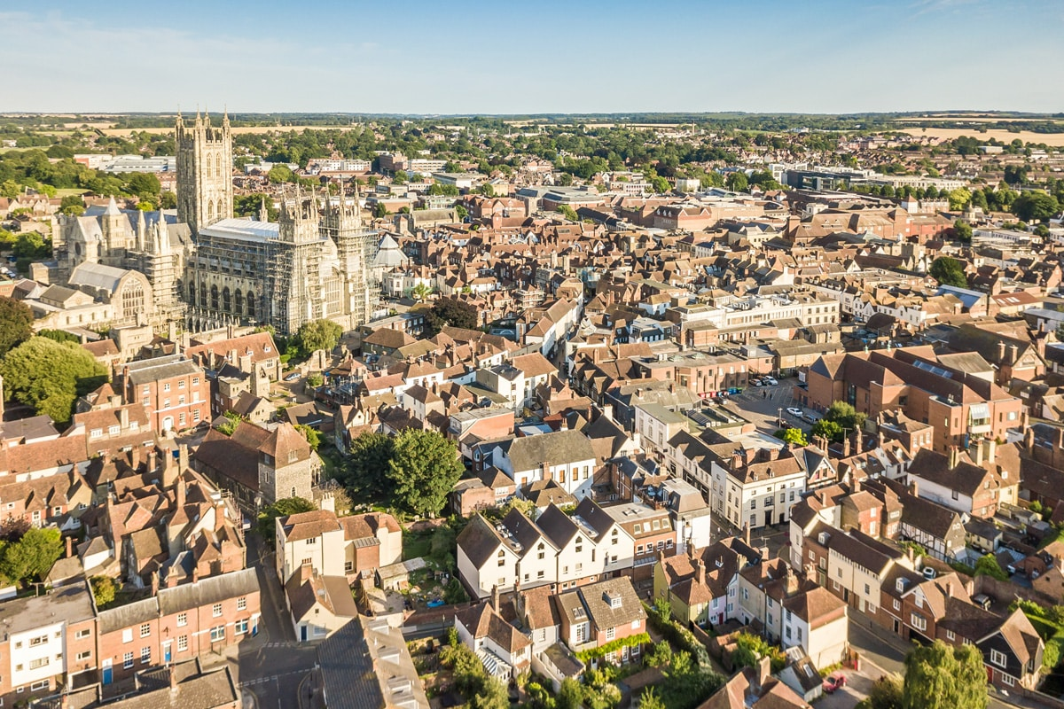 An aerial shot of the city of Canterbury in Kent.