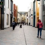 Shoppers during the daytime walking through the newly constructed Bond Street in Chelmsford.