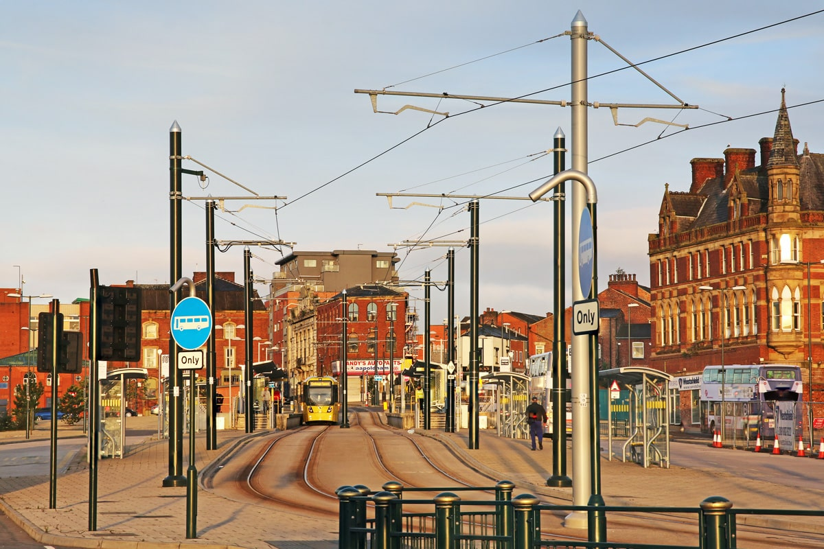 The Oldham Mumps tram stop in summer.
