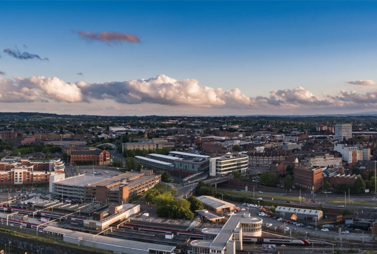 An aerial view of the city centre of Wolverhampton.