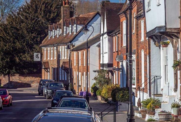 Houses in Fishpool Street, St Albans, Hertfordshire.