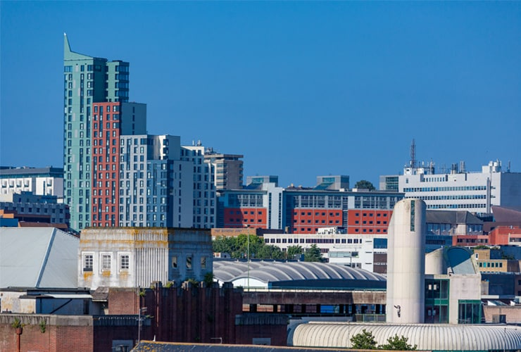 A photograph of the Plymouth city skyline on a bright, summer's day.