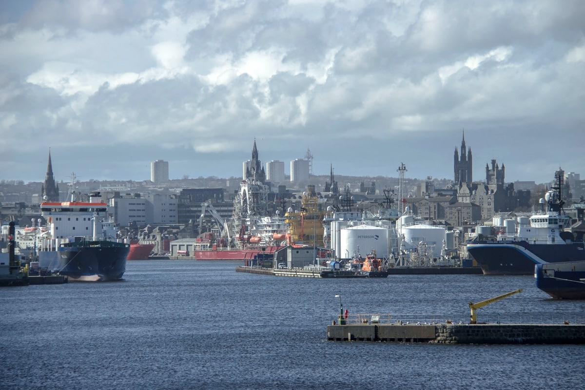 View of the city of Aberdeen from the harbour.