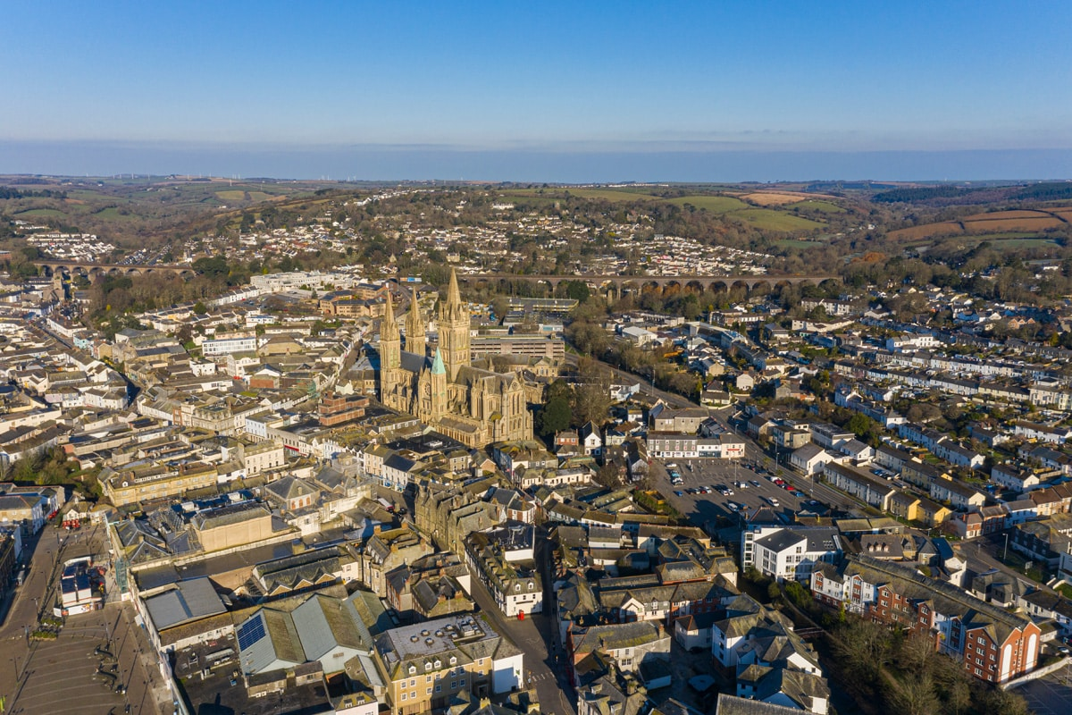 An aerial view of the city of Truro in Cornwall.