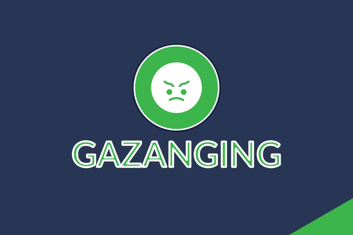 "A banner with an angry face emoji and a line of text saying, ""GAZANGING""."""