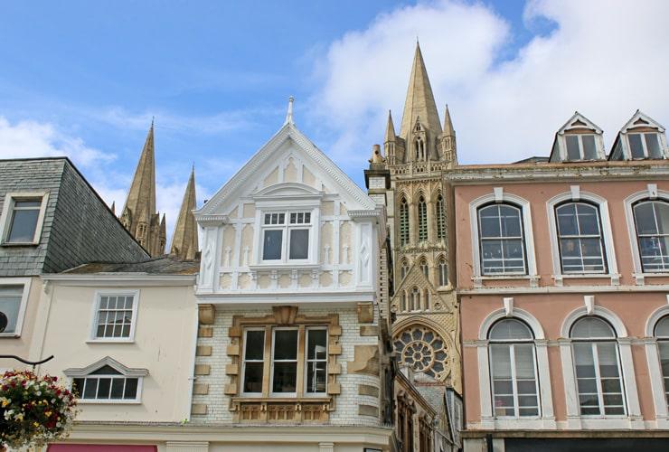 Colourfull facades in Truro, Cornwall.