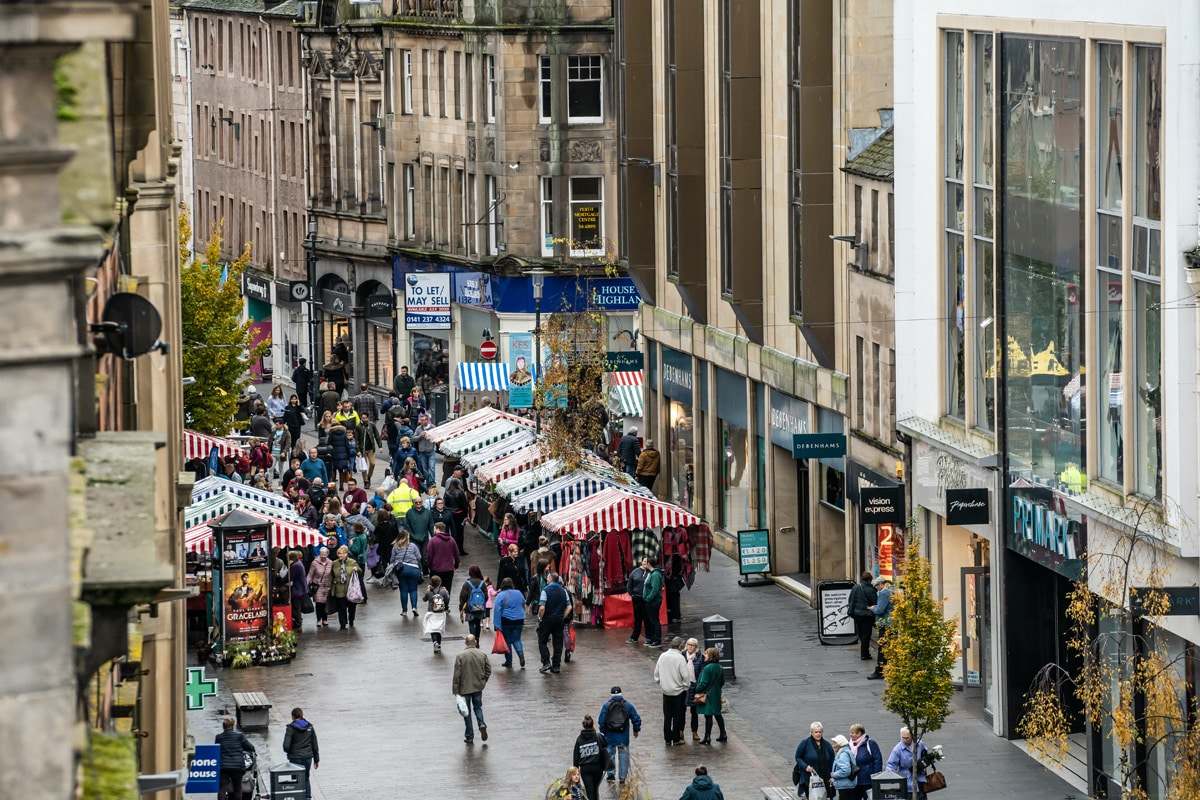 A famer's market on a high street in Perth, Scotland.
