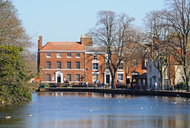 View across Minster Pool towards Dam Street showing the Pool House, Lichfield.