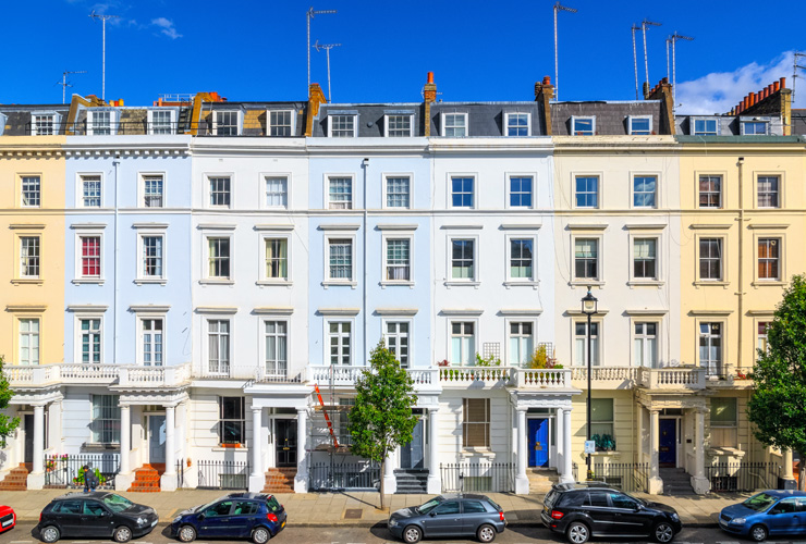 Colourful-fronted townhouses in Pimlico, London