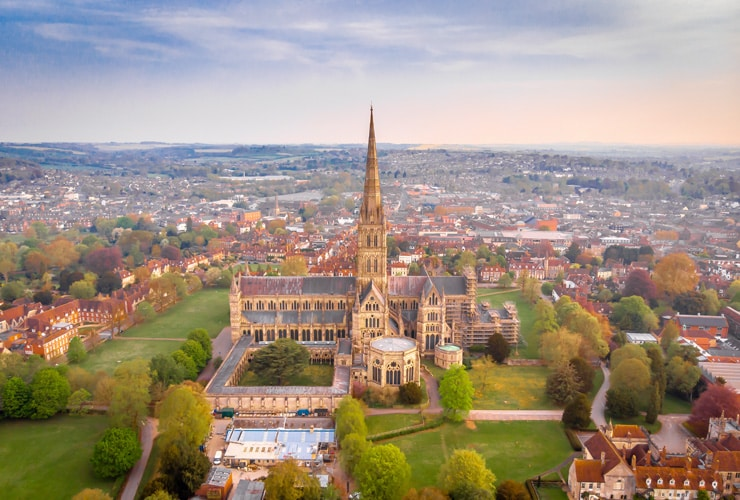 An aerial view of Salisbury Cathedral.