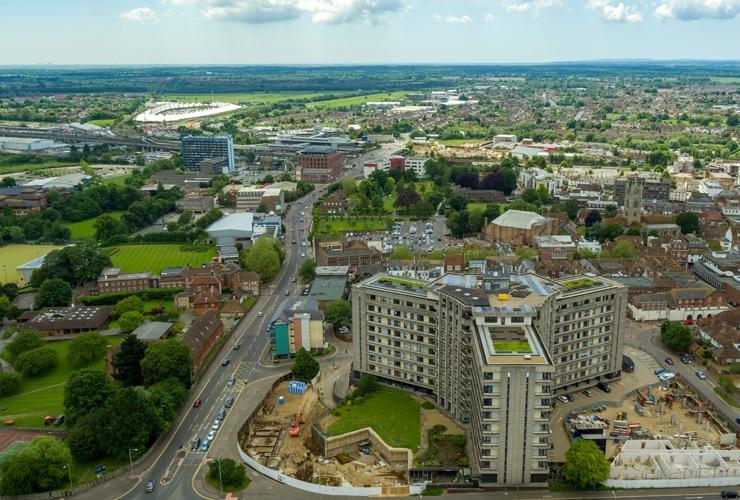 An aerial view of Ashford in Kent.