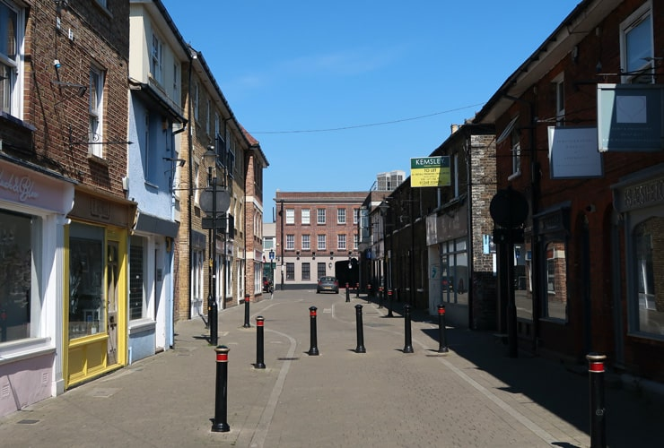 A pedestrianised high street in Brentwood.