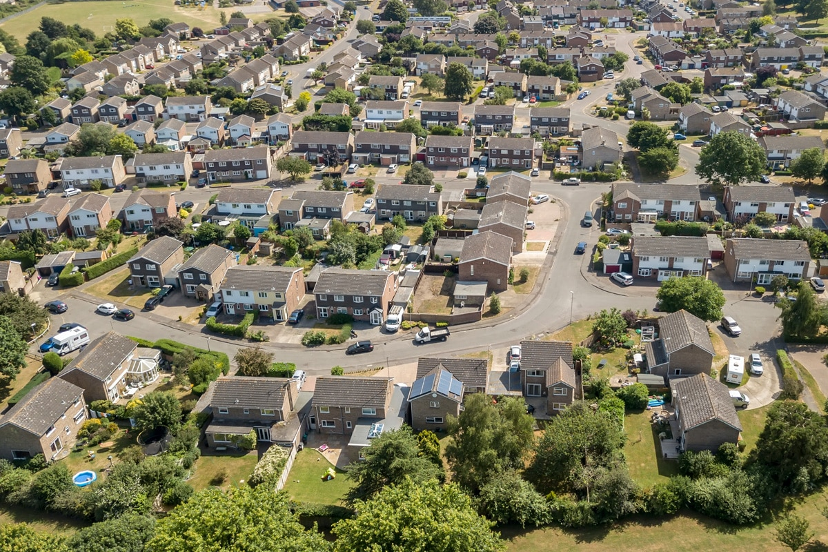 An aerial view of a housing estate in Colchester.