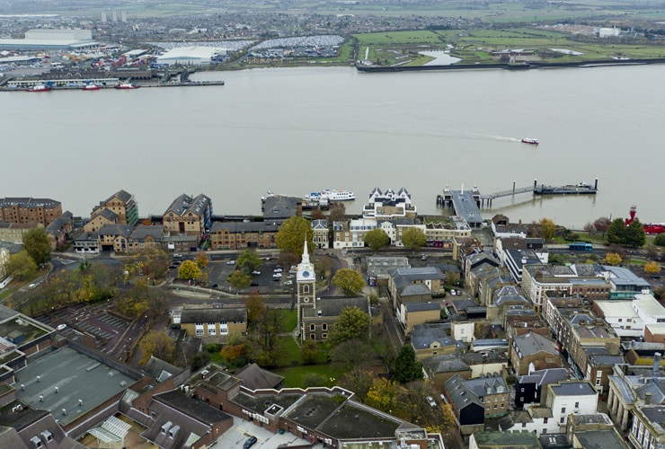 An aerial view of Gravesend, Kent.