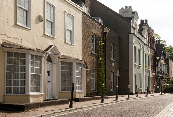 Houses on the high street of Greenhithe.