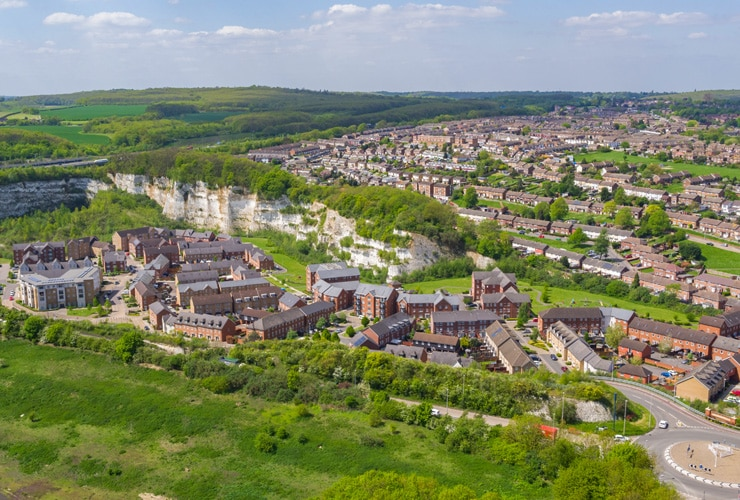 Aerial photograph of the Medway Gate housing estate in Strood.