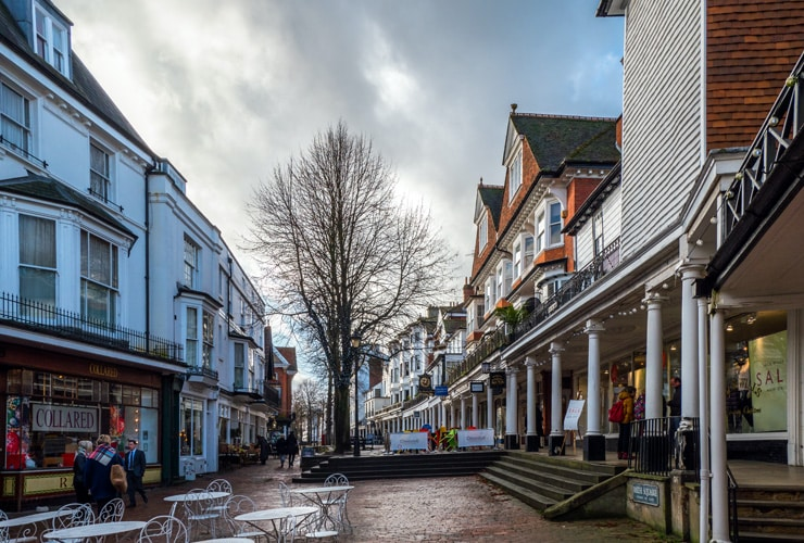 View of the Pantiles shopping district in in Royal Tunbridge Wells.