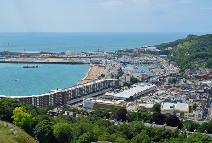 An aerial shot of the port of Dover on a summer day.