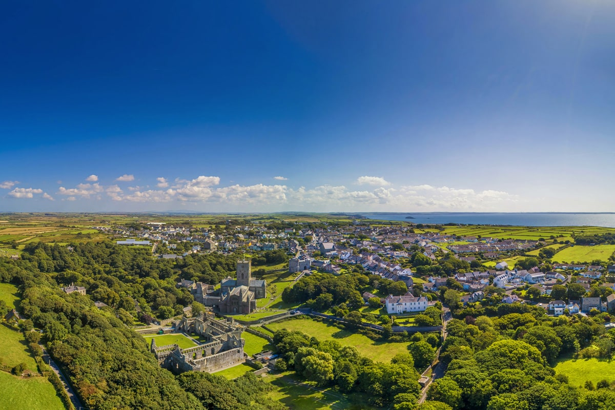 Aerial view of the City of St. Davids on a summer day.